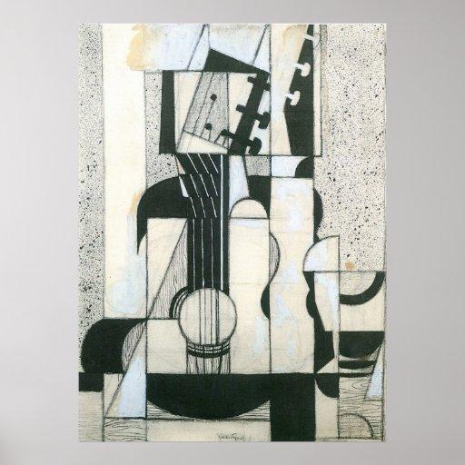 Todavía vida con la guitarra de Juan Gris Poster