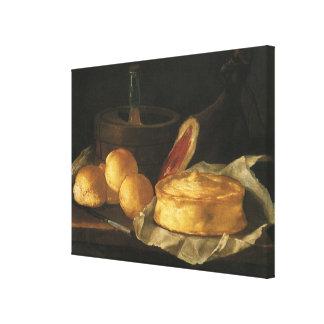 Todavía vida con la tarta y el jamón, José Recco d Lona Envuelta Para Galerias