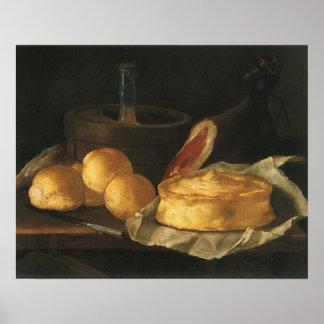 Todavía vida con la tarta y el jamón, José Recco d Poster