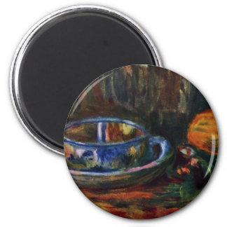 Todavía vida con la taza de Pierre-Auguste Renoir Imanes Para Frigoríficos