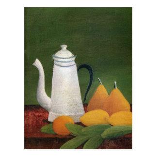 Todavía vida con la tetera y la fruta de Henri Rou Tarjeta Postal