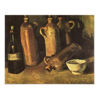 """Todavía vida con las botellas de piedra de Vincent Invitación 4.25"""" X 5.5"""""""