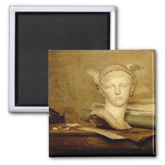 Todavía vida con las cualidades de los artes, 1765 imán cuadrado