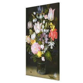 Todavía vida con las flores impresión en lienzo