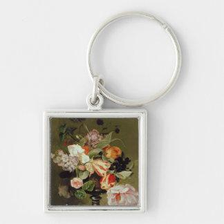 Todavía vida con las flores llaveros personalizados