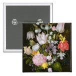 Todavía vida con las flores pin cuadrada 5 cm