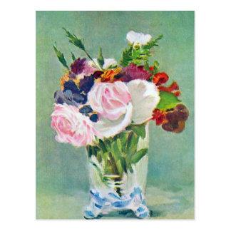Todavía vida con las flores por Manet Postales