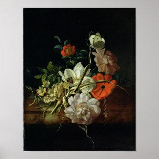Todavía vida con las flores póster