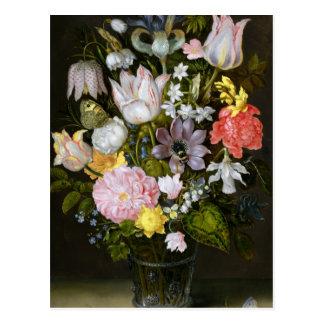 Todavía vida con las flores postal
