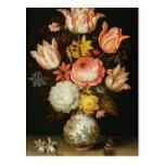 Todavía vida con las flores tarjetas postales