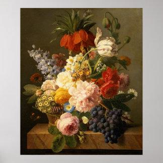 Todavía vida con las flores y la fruta, 1827 póster