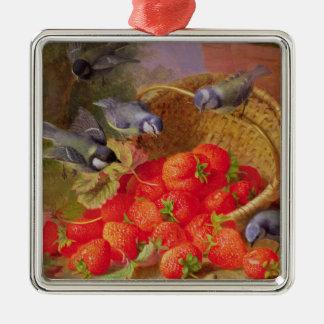 Todavía vida con las fresas y Bluetits Adorno Navideño Cuadrado De Metal