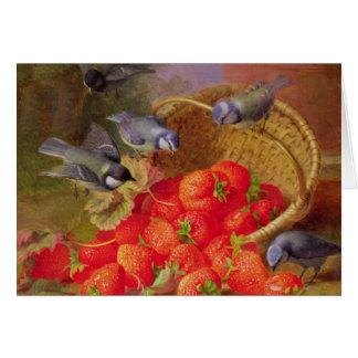 Todavía vida con las fresas y Bluetits Felicitaciones