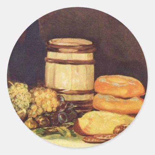 Todavía vida con las frutas, botellas, panes - pegatina redonda