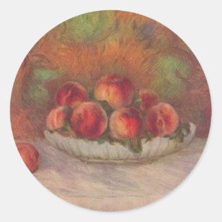Todavía vida con las frutas - Pierre-Auguste Etiqueta Redonda