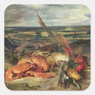 Todavía vida con las langostas, 1826-27 pegatina cuadrada