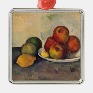 Todavía vida con las manzanas c 1890 adorno