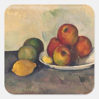 Todavía vida con las manzanas c 1890 colcomanias cuadradass
