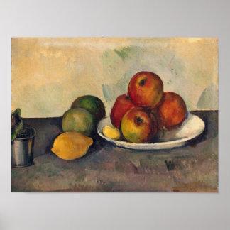 Todavía vida con las manzanas, c.1890 póster