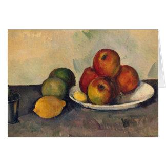Todavía vida con las manzanas c 1890 tarjeton