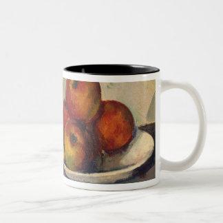 Todavía vida con las manzanas c 1890 taza de café