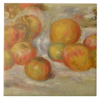 Todavía vida con las manzanas, c.1898 (aceite en l azulejo cuadrado grande