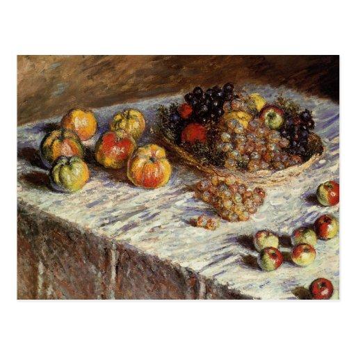 Todavía vida con las manzanas y las uvas postales
