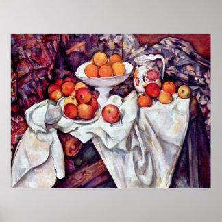 Todavía vida con las manzanas y los naranjas de Pa Posters