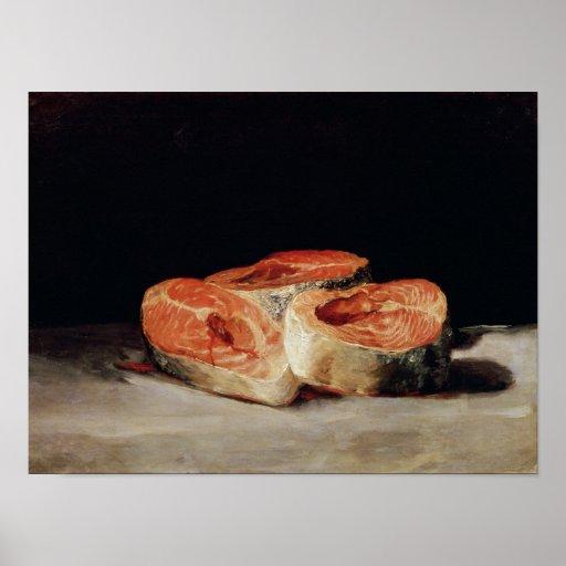 Todavía vida con las rebanadas de los salmones, 18 póster