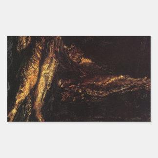 Todavía vida con los arenques ahumados de Van Gogh Pegatina Rectangular