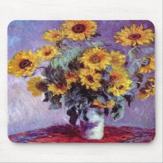 Todavía vida con los girasoles de Claude Monet Alfombrilla De Ratones