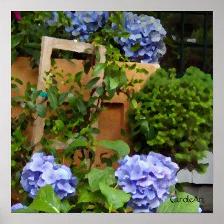 Todavía vida con los Hydrangeas azules Poster