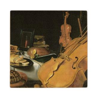 Todavía vida con los instrumentos musicales, 1623 posavasos de arce