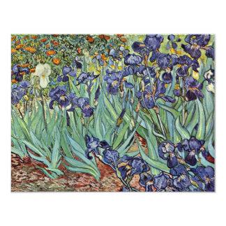 """Todavía vida con los iris de Vincent van Gogh Invitación 4.25"""" X 5.5"""""""