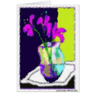 Todavía vida con los iris felicitacion