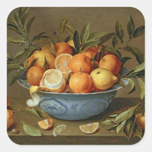 Todavía vida con los naranjas y los limones pegatina cuadradas personalizadas