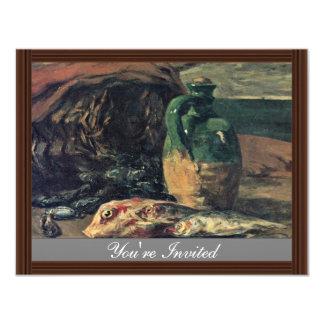 """Todavía vida con los pescados de Gauguin Paul (la Invitación 4.25"""" X 5.5"""""""