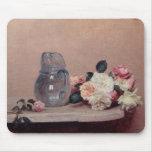 Todavía vida con los rosas, 1889 (aceite en lona) alfombrilla de ratón