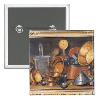 Todavía vida con los utensilios de la cocina pin cuadrada 5 cm