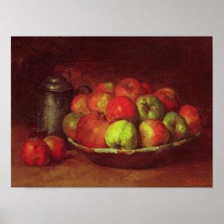 Todavía vida con manzanas y una granada impresiones
