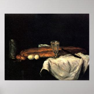 Todavía vida con pan y huevos de Paul Cezanne Póster