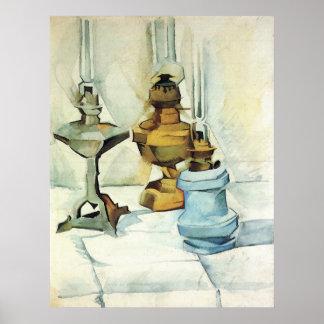 Todavía vida con tres lámparas de Juan Gris Póster