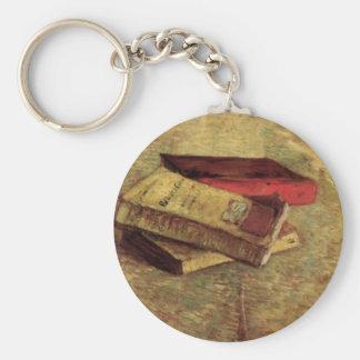 Todavía vida con tres libros de Van Gogh Llavero Redondo Tipo Pin