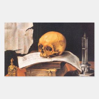 Todavía vida con un cráneo y un almanaque - pegatina rectangular