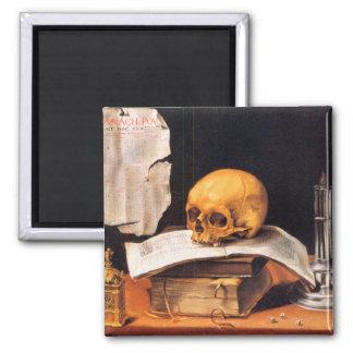 Todavía vida con un cráneo y un almanaque - Stosko Imán De Frigorífico