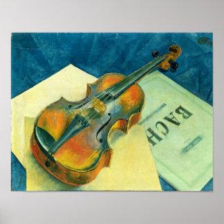 Todavía vida con un violín 1921 poster