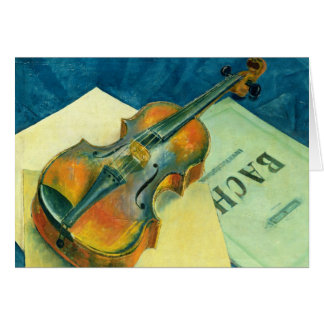 Todavía vida con un violín, 1921 tarjeta de felicitación