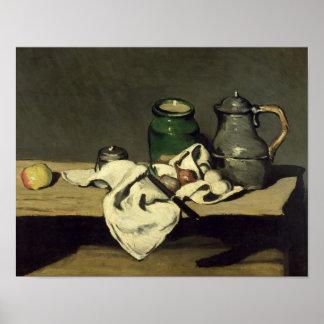 Todavía vida con una caldera, c.1869 póster