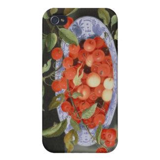 Todavía vida de cerezas y de melocotones iPhone 4 carcasa