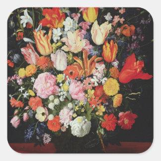 Todavía vida de flores, 1610s pegatina cuadrada